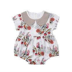 Одежда из хлопка с короткими рукавами для новорожденных и маленьких девочек, милый боди с цветочным принтом и воротником в виде куклы