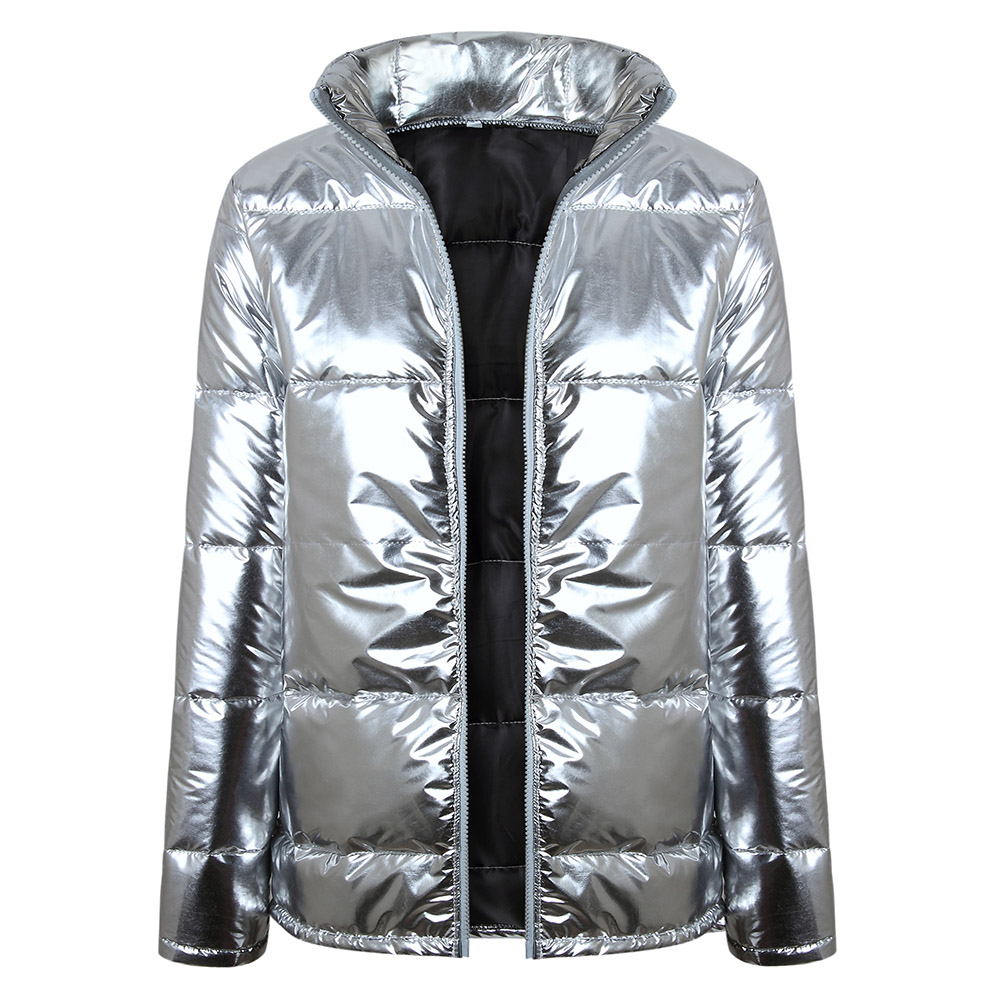 Womens Winter Silver Shining Size Plus 2019 Loose Thicken Zipper Coats Jacket Parka Outwear Thick Casual Silver Warm New Coats
