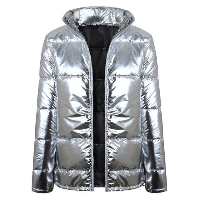 Womens Winter Silver Shining Size Plus 2018 Loose Thicken Zipper Coats Jacket Parka Outwear Thick Casual Silver Warm New Coats