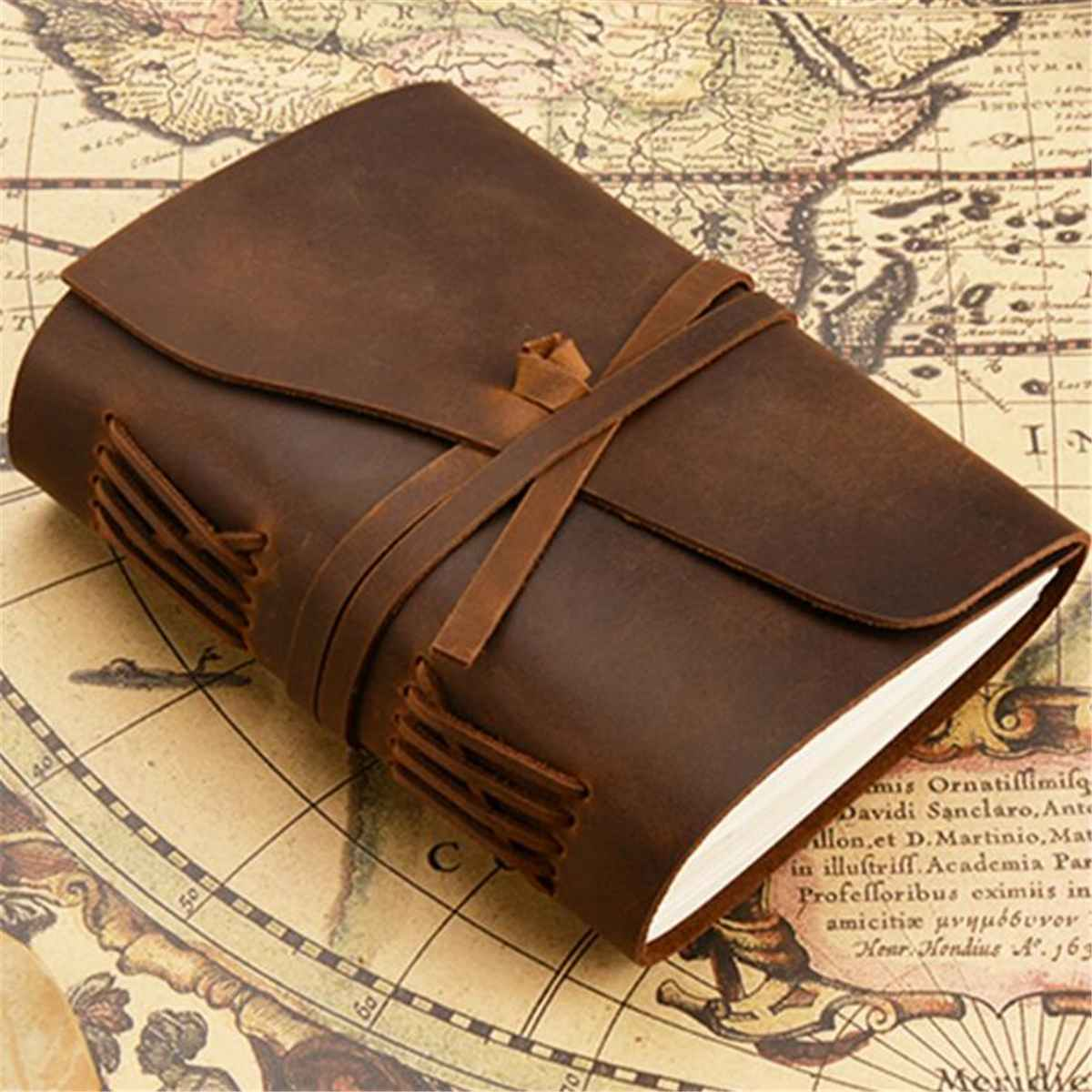 US $26 31 42% OFF|Genuine Leather Diary Write Notebook Retro Travel Journal  Travel Handmade Vintage Writing Paper Hard Cover Sketchbook School-in