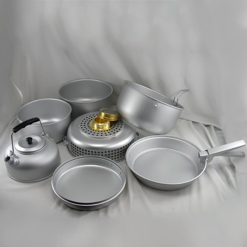 10 pièces ensemble de cuisine de Camping en plein air batterie de cuisine Portable ustensile de cuisine plat plat Pots bouilloire d'eau alcool poêle vent bouclier