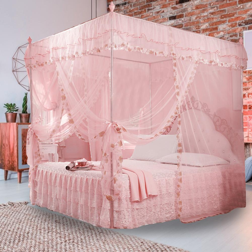 Bedding Mosquito Net Luxury Princess Queen Girl Mosquito Three Side Opening Bedroom Decor Pink