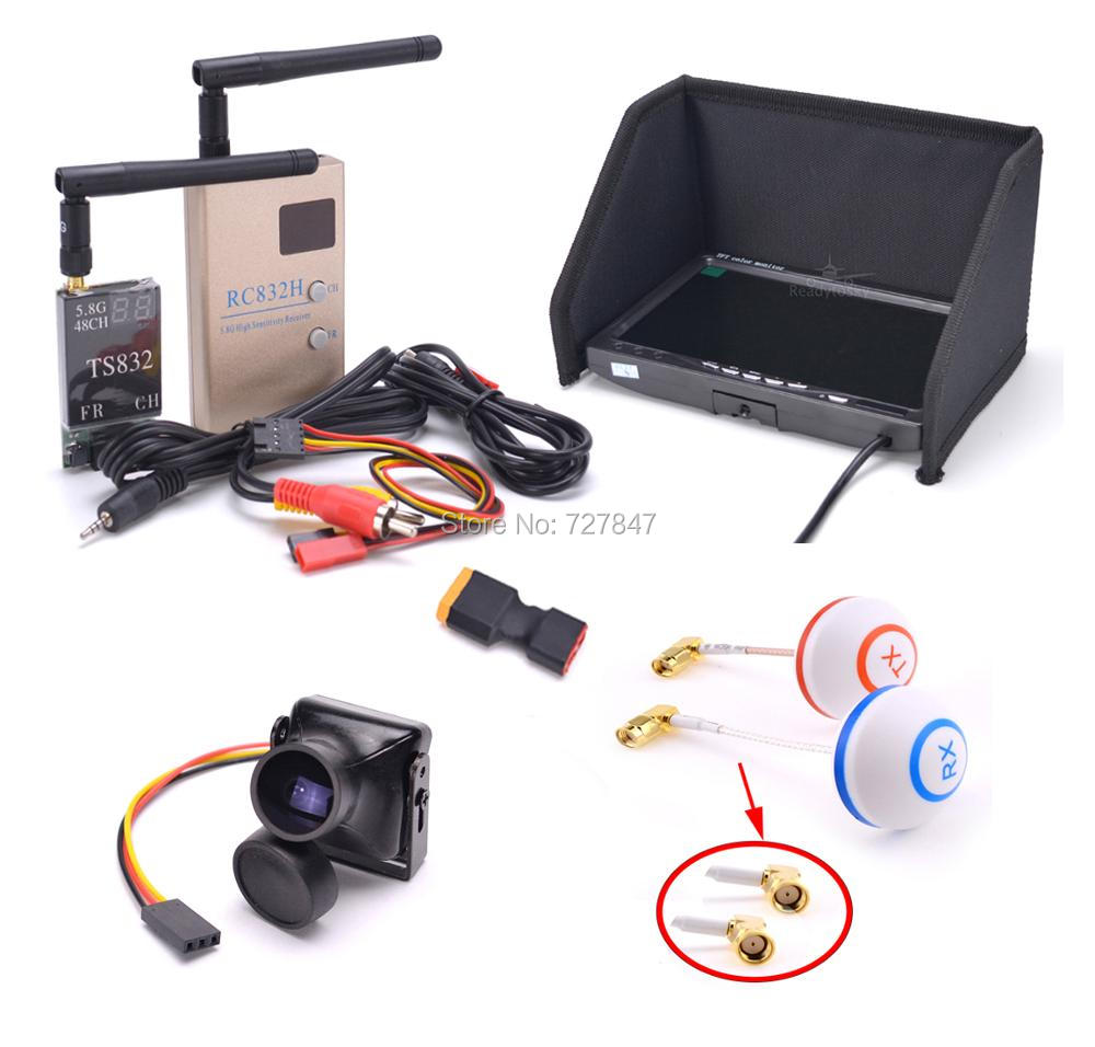 FPV Kit Combo System 1200TVL Camera + 5.8Ghz 600mw 48CH TS832 RC832S RC832 + 7 Inch LCD 1024 X600 Monitor IPS For FPV F450 S500