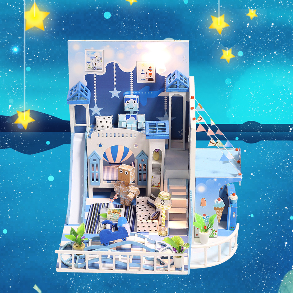 Birthday Gifts Doll House Dream House DIY Miniature House Building Kit Wooden Furniture Toys for Child