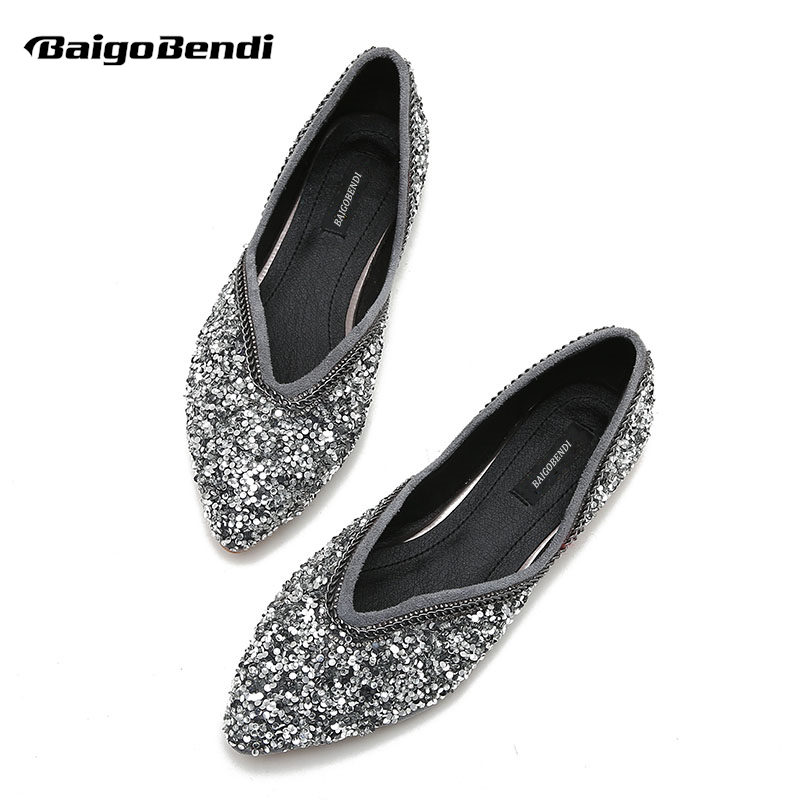 Taille 42 43 Dames Chaussures 33 Grande Black navy Décontractées Super Bling À grey Tissu Appartements Paillettes RecommanderFilles Strass 41 brown red Femme Plates EW29IDHY