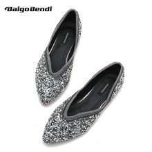 Super Recommend!! Girls Bling Sequined Cloth Flats Woman Rhinestone Large Size 33 41 42 43 Casual Shoes Ladies