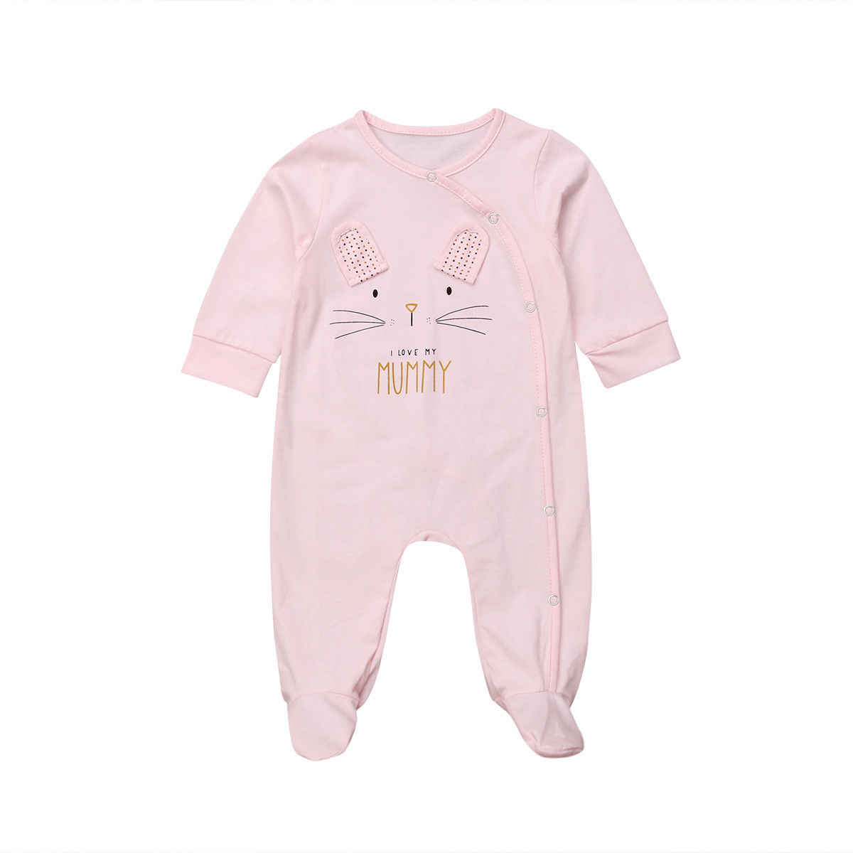 유아 만화 곰 아기 옷 소녀 및 소년 긴 소매 아빠 엄마 아기 rompers babygrow sleepsuits 아기 romper 0-18 개월