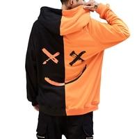 Harajuku Smile Print Mens Sweatshirts Hoodies Hip Hop Streetwear Sweatshirt Male Orange Black Red Block Hooded Hoddies Men Emoji