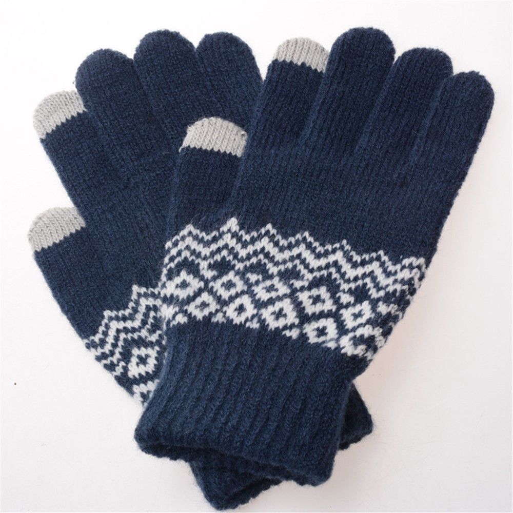 Fashion Warm Touch Screen Wool Winter Gloves Women Men Warm For Mobile Phone Blue Black White Gray Back To Search Resultsapparel Accessories