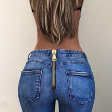 Women High Waist Jeans Fashion Vintage Back Zipper Jeans Skinny Denim Pencil Pants Elastic Stretched Long Trousers Plus Size цена 2017