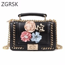 Women Fashion Designer Ladies Tote Luxury Bag Pu Leather Handbags Chain Flower Small Handbag Woman Crossbody Bags High Quality недорого