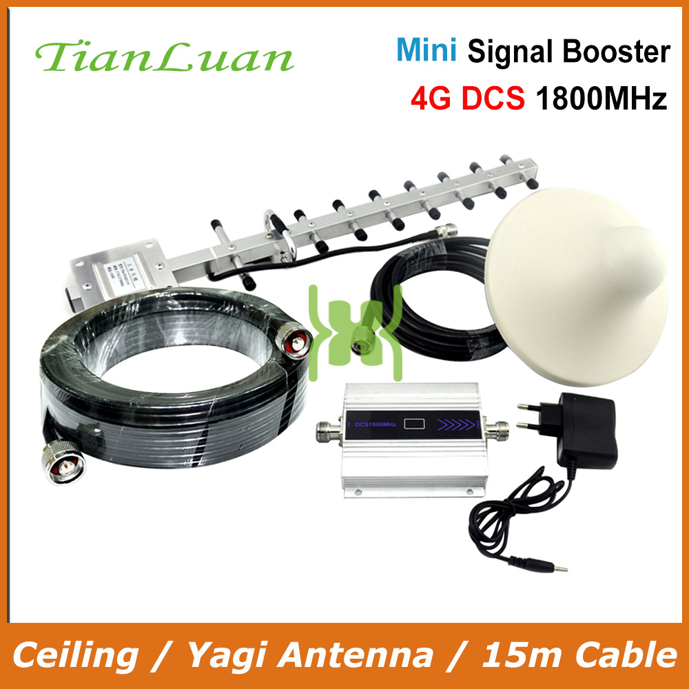 TianLuan 4G LTE FDD 1800MHz Signal Booster Mobile Phone 2G 4G Signal Repeater With Yagi Antenna / Ceiling Antenna / 15m Cable