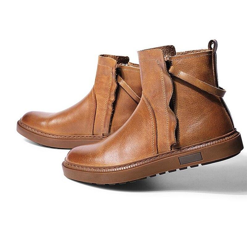 Mode Chaussures Designer brown Bottines Rétro Bottes Black Véritable Hommes En Cuir Winer Chelsea Décontracté On0Nw8PXk