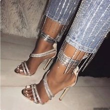 Sexy Super High Heels Women Sandals Ankle Cross-tied Bling Bling Crystal Strap Wedding Shoes Bride Cut-out Summer Sandals цена 2017