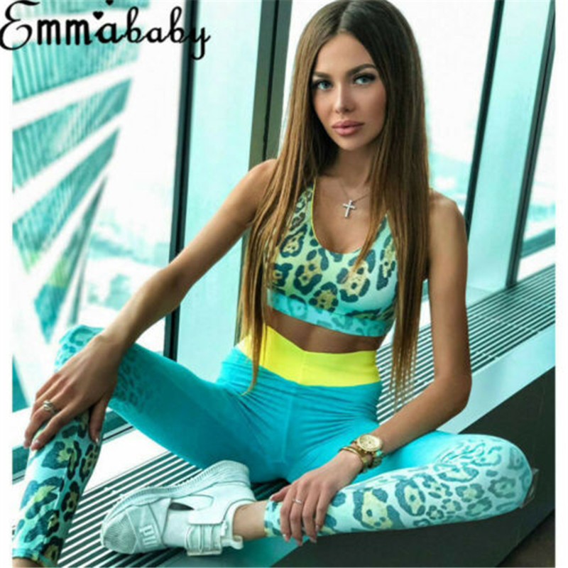 New Seamless Yoga Set Women Fitness Clothing Sportswear Woman Gym Leggings Leopard Push-up Strappy Sports Bra 2 Pcs Sports Suits