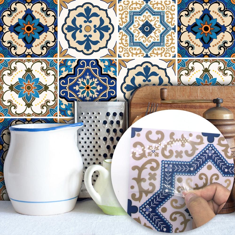 15*15cm/20*20cm Moroccan Tiles PVC Waterproof Self adhesive Wallpaper Furniture Bathroom DIY Arab Tile Sticker TS029