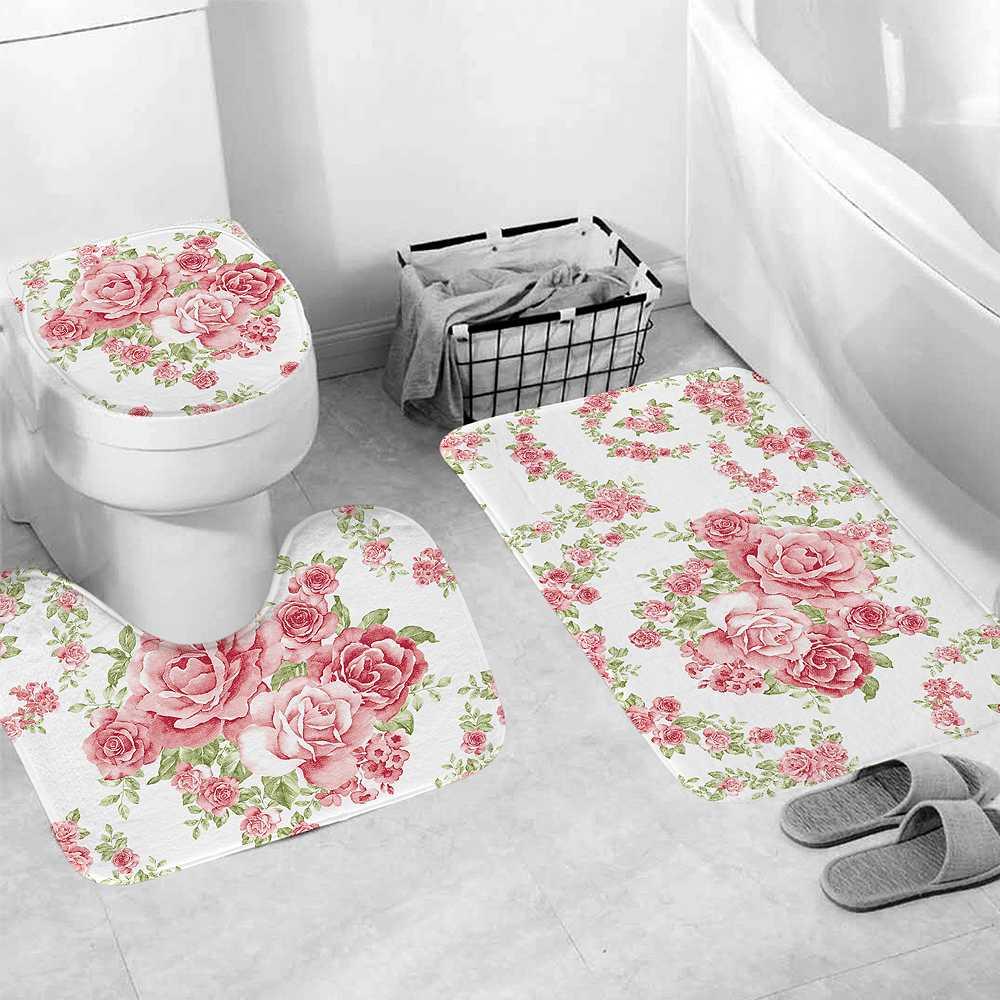 3Pcs/set Rose Bathroom Mat Set Flannel Polyester Fiber Anti-Slip Soft Kitchen Bath Mat Carpet Toilet Cover Bathroom Rug Washable