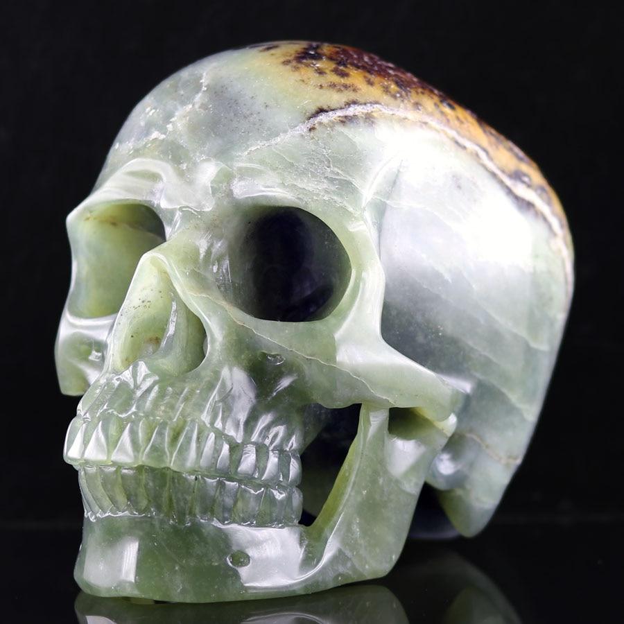 """5.82 """"néphrite JADE fait à la main sculpté cristal crâne cristal réaliste cristal guérison Articles d'ameublement Figurine A101"""