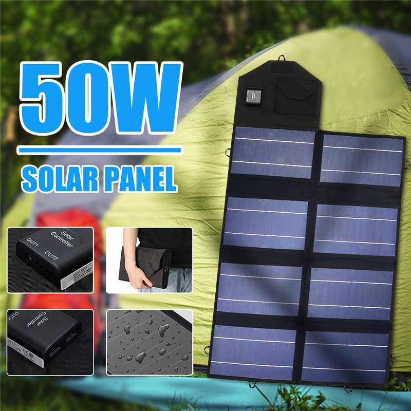 50W 12V Solar Panel Portable Dual USB Folding Charger Mobile Power Bank For Phone Battery Port For Outdoor Activitie Waterproof