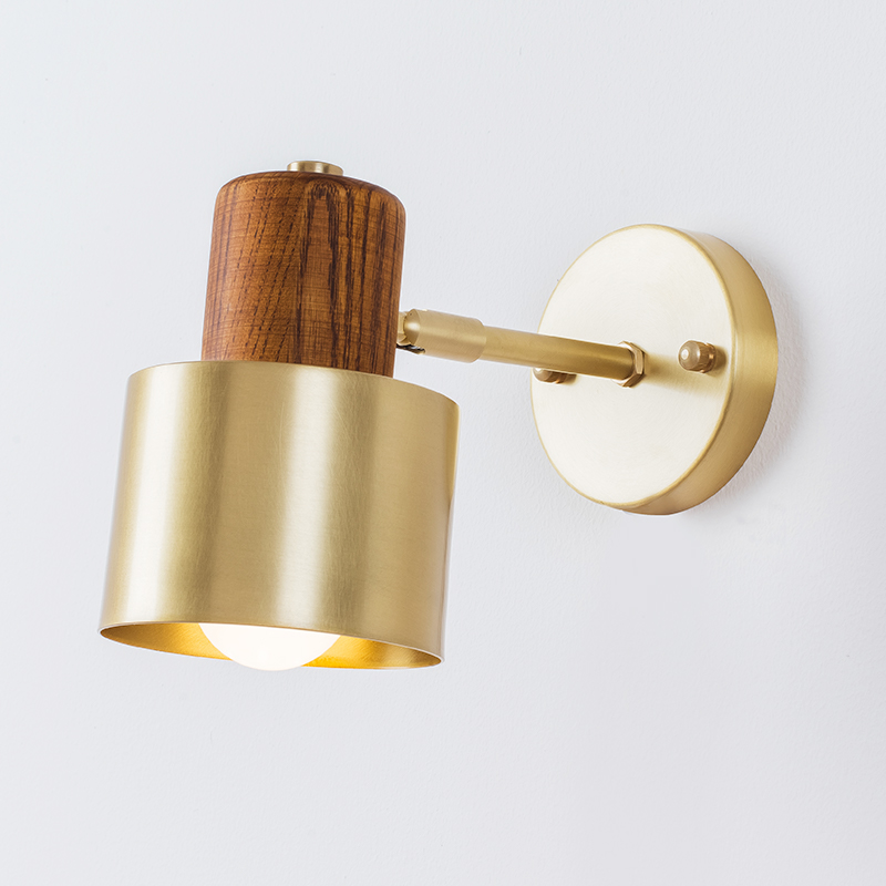 EL American style bedside antique <font><b>wall</b></font> <font><b>lamp</b></font> single-head living room lights <font><b>vintage</b></font> fashion wooden brass <font><b>lamps</b></font> image