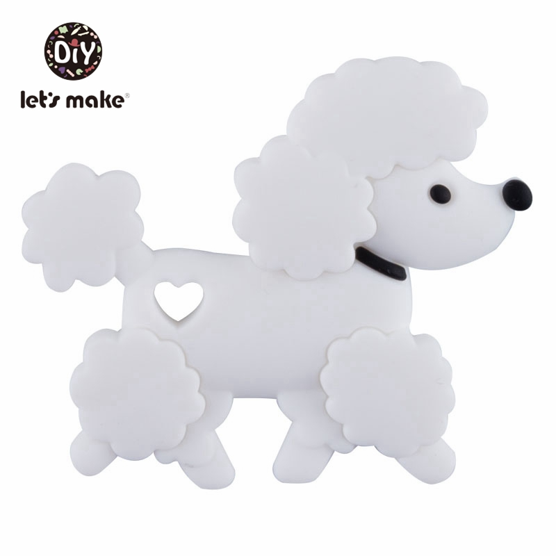Let's Make 1pc Silicone Puppy Pendants Cute Shape Cartoon Animals Teething Food Grade Silicone Teethers Tiny Rod Baby Teethers