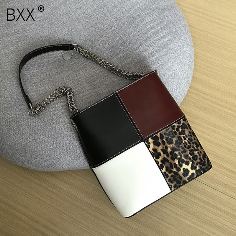 BXX 2019 New Woman Spelling Color Leopard Print Bucket Package Single Strap Zipper Messenger Bag