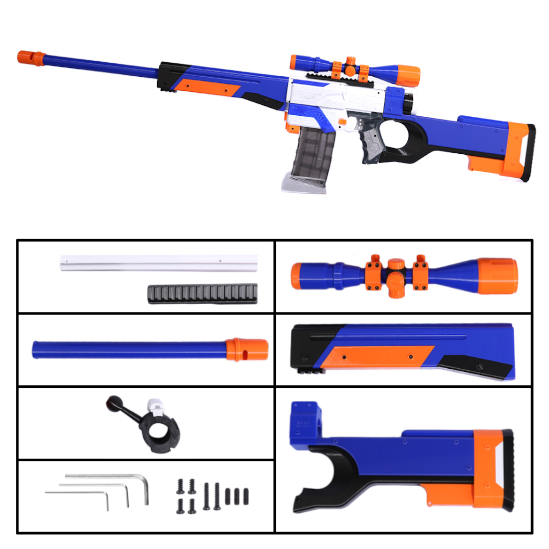 Tactical Kid Toy Gun 3D Printing Appearance Modification Kit for Nerf Retaliator Blasters Accessories Component - Blue