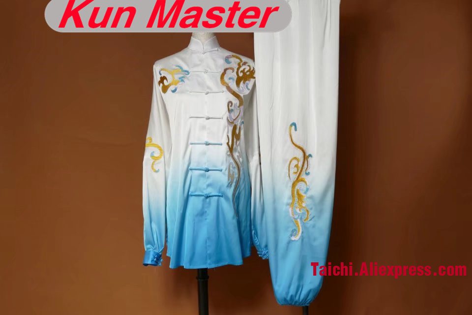 Custom Tai Chi Performance Uniform Clouds Embroidery  Martial Art Clothing For Kung Fu White And Blue Gradual Change Color