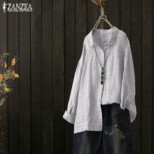 ZANZEA Blouse Women Elegant Long Sleeve Lapel Blouses 2019 Autumn Casual Striped Shirt Vintage Striped Work Top Blusas Plus Size plus rolled tap sleeve surplice wrap striped top