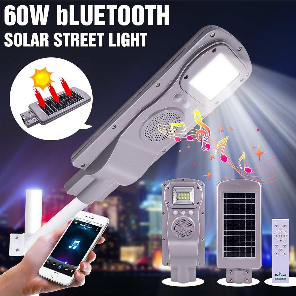 Réverbère solaire Bluetooth fonction musique 60 W lumière + Radar détection + télécommande contrôle mural extérieur minuterie lampe lampadaires