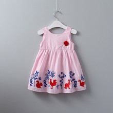 summer girls cotton dress pink bunnies rabbit embroidery flower baby frock kids dresses for girl clothing children costume