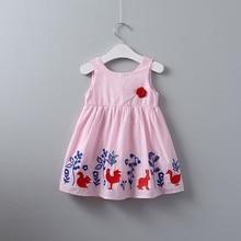 summer girls cotton dress pink bunnies rabbit embroidery flower baby frock kids dresses for girl clothing children costume недорого