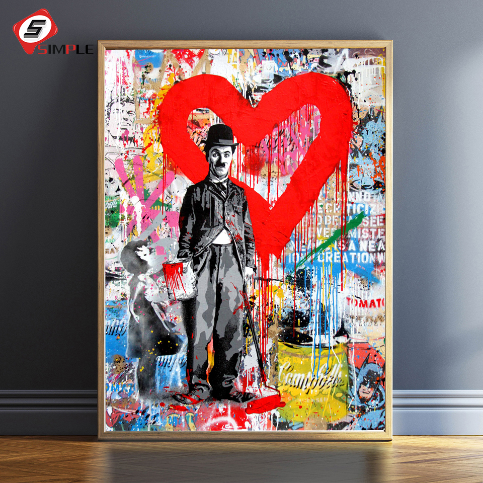 a16447688ff Modern Pop Graffiti Wall Art Canvas Chaplin Einstein Posters And Prints  Follow Your Dream Painting Art Pictures For Living Room