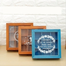 Wooden retro square acrylic storage box multi-function desktop storage box compartment wooden box multi-meat flower box jewelry