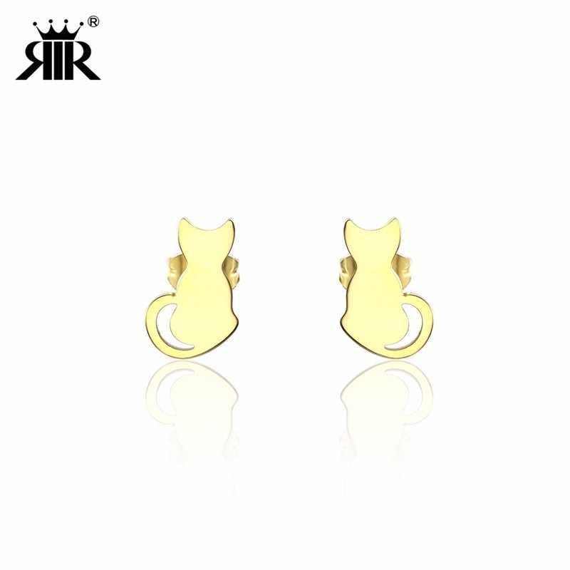 RIR Stainless Steel Minimalist Animal Cute Pet Cat Stud Earrings For Women  Lover Gift d30c03afaf97