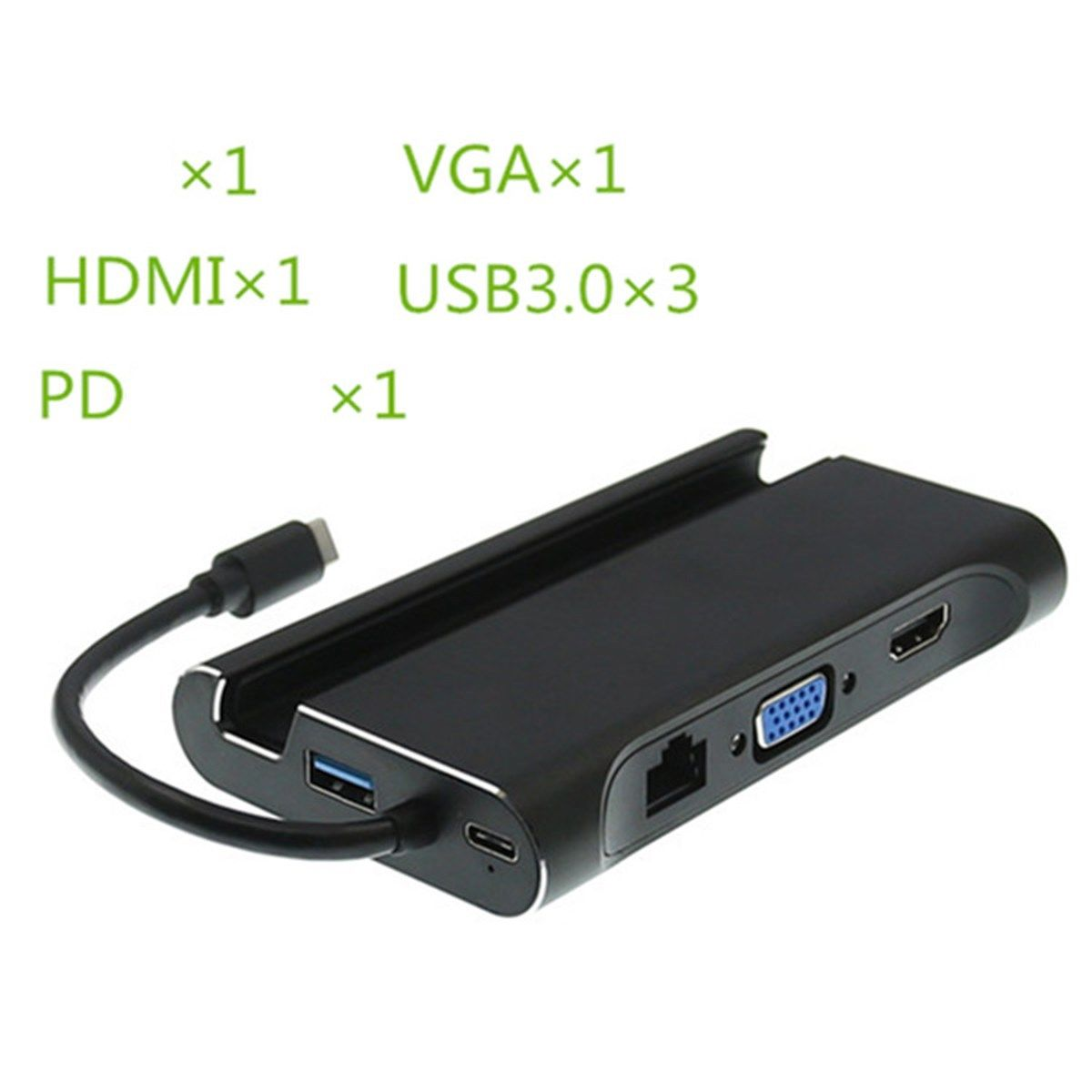 7In1 Usb C a 4 K Hdmi Vga Rj45 Ethernet Usb 3,1 puerto de tipo C adaptador de carga de Hub - 3