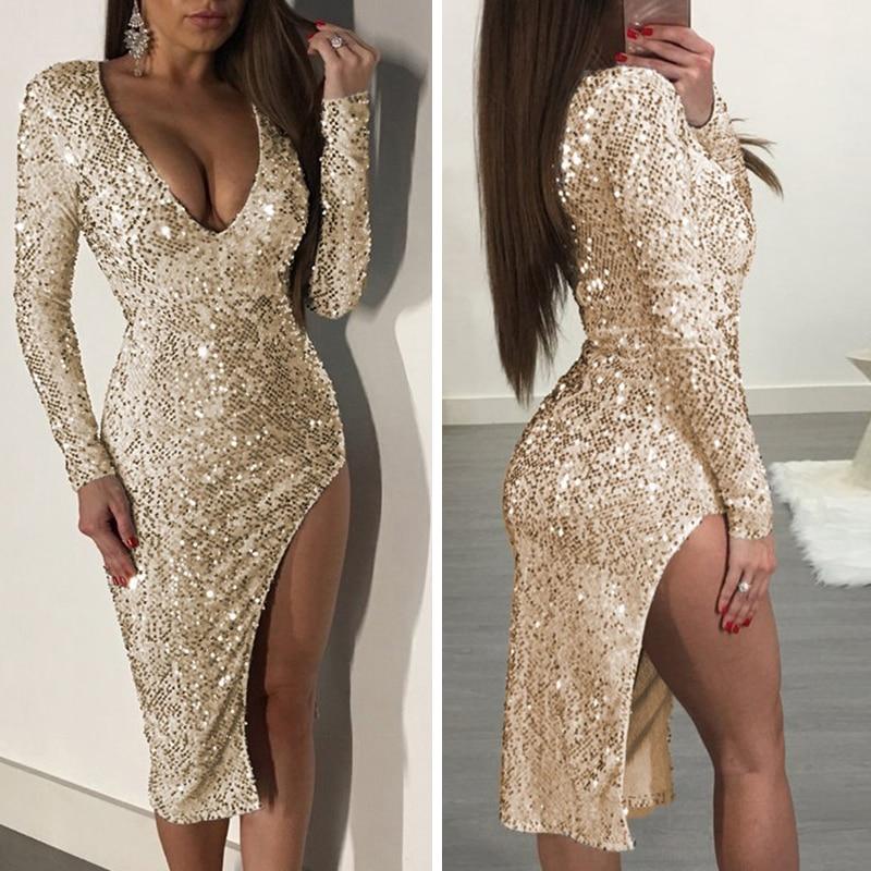 Золотые платья с блестками, сексуальные женские платья с длинным рукавом, глубокий v-образный вырез, простое цветное крепление, сплит-весенн...