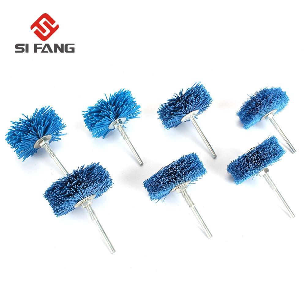7Pcs Drill Abrasive Wire Grinding Wheel Nylon Bristle Polishing Brush For Wood 80-600 Grit Dremel Accessories