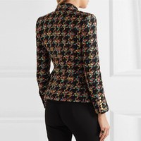 2018 New Designer Houndstooth Tweed Blazers Women Double Breasted Lapel Blazer Notched Autumn Lady Long Sleeve Coats
