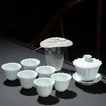 китайские чайные чашки | Белый керамический гайвань комплект Китайский кунг-фу Чай наборы посуды китайский чайный набор Чай горшок Чай комплект Gaiwan набор Чай чашеч...