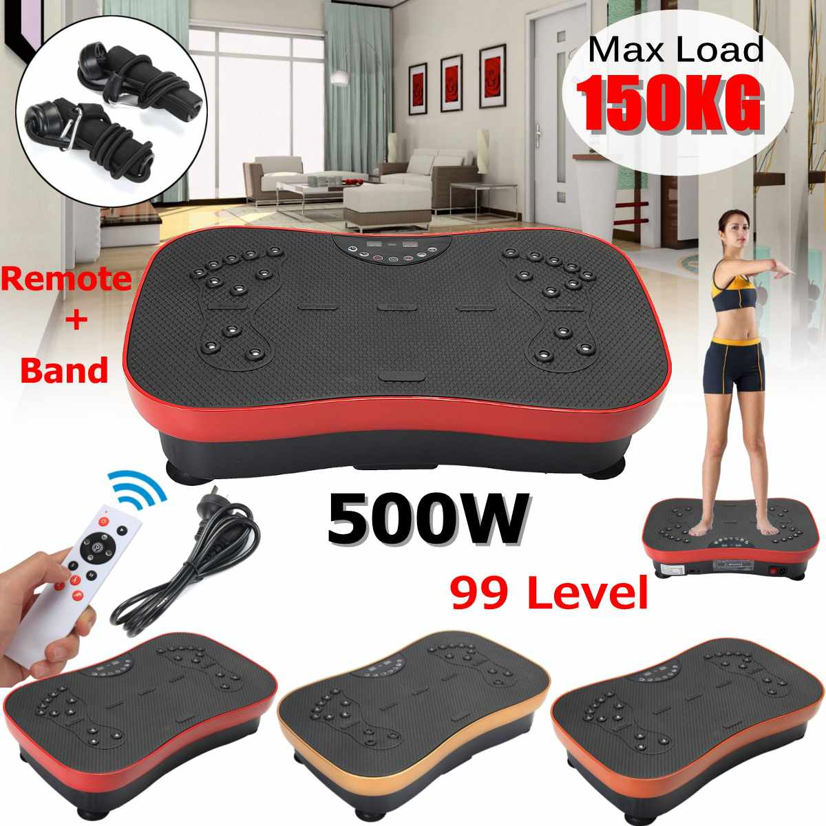 150KG 330lb Exercise Fitness Slim Vibration Machine Trainer Plate Platform Body Shaper with Resistance Bands for