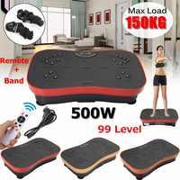 150KG/330lb Exercise Fitness Slim Vibration Machine Trainer Plate Platform Body Shaper with Resistance Bands for Home