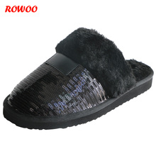 Купить с кэшбэком New Winter Black Sequined Women Slippers Fur Warm Plush Female Slides Indoor EVA Flat Slides Home Flip Winter Shoes Slip-on