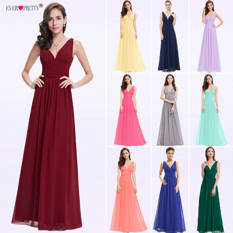 Vestido Fiesta Mujer Ever Pretty A Line V Neck Long Chiffon Wedding Party Dress Guest Elegant