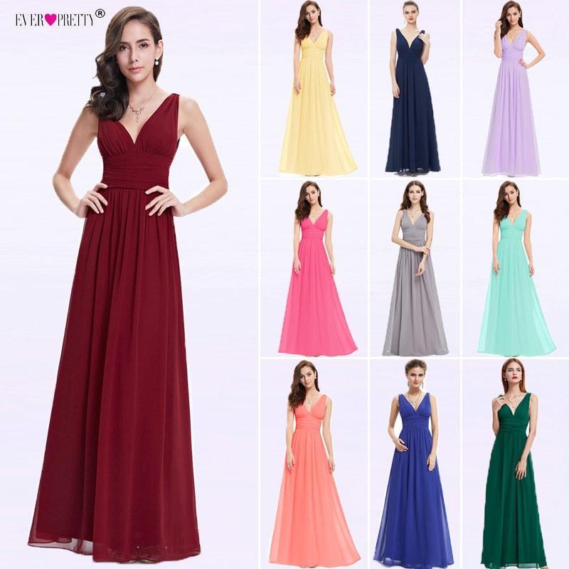 Vestido Fiesta Mujer Ever Pretty A Line V Neck Long Chiffon Wedding Party   Dress   Guest Elegant Royal Blue   Bridesmaid     Dresses   2019