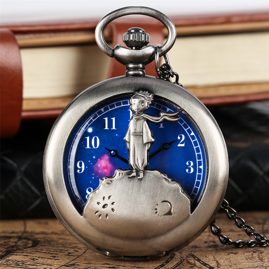 Retro Grey/Bronze The Little Prince Theme Pocket Watches Fob Necklace Chain Hollow Half Hunter Blue Dial Pendant Clock Gift Kids