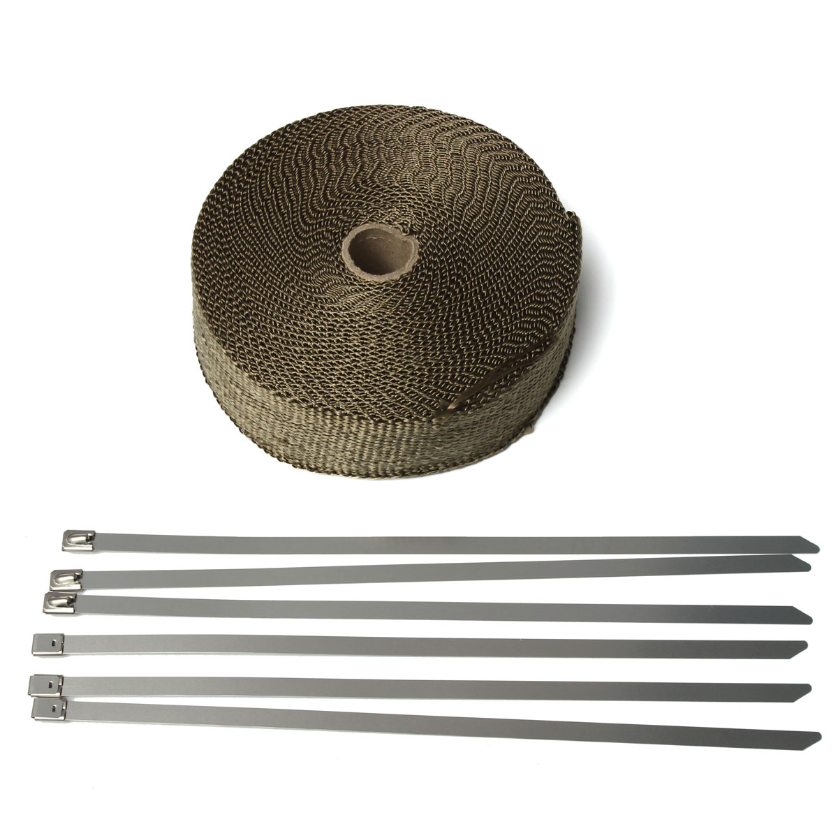 15M*50MM Thermal Exhaust Header Pipe Tape Heat Insulating Wrap Tape Fireproof Cloth Roll With 6 Durable Steel Ties Kit