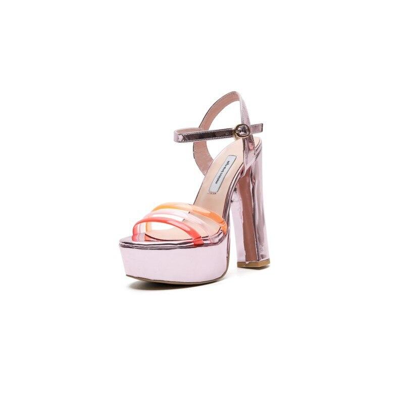 Casual De Color Sliver Mezclado Rosa Sandalias Para Heel En Altos Ybv6g7fy