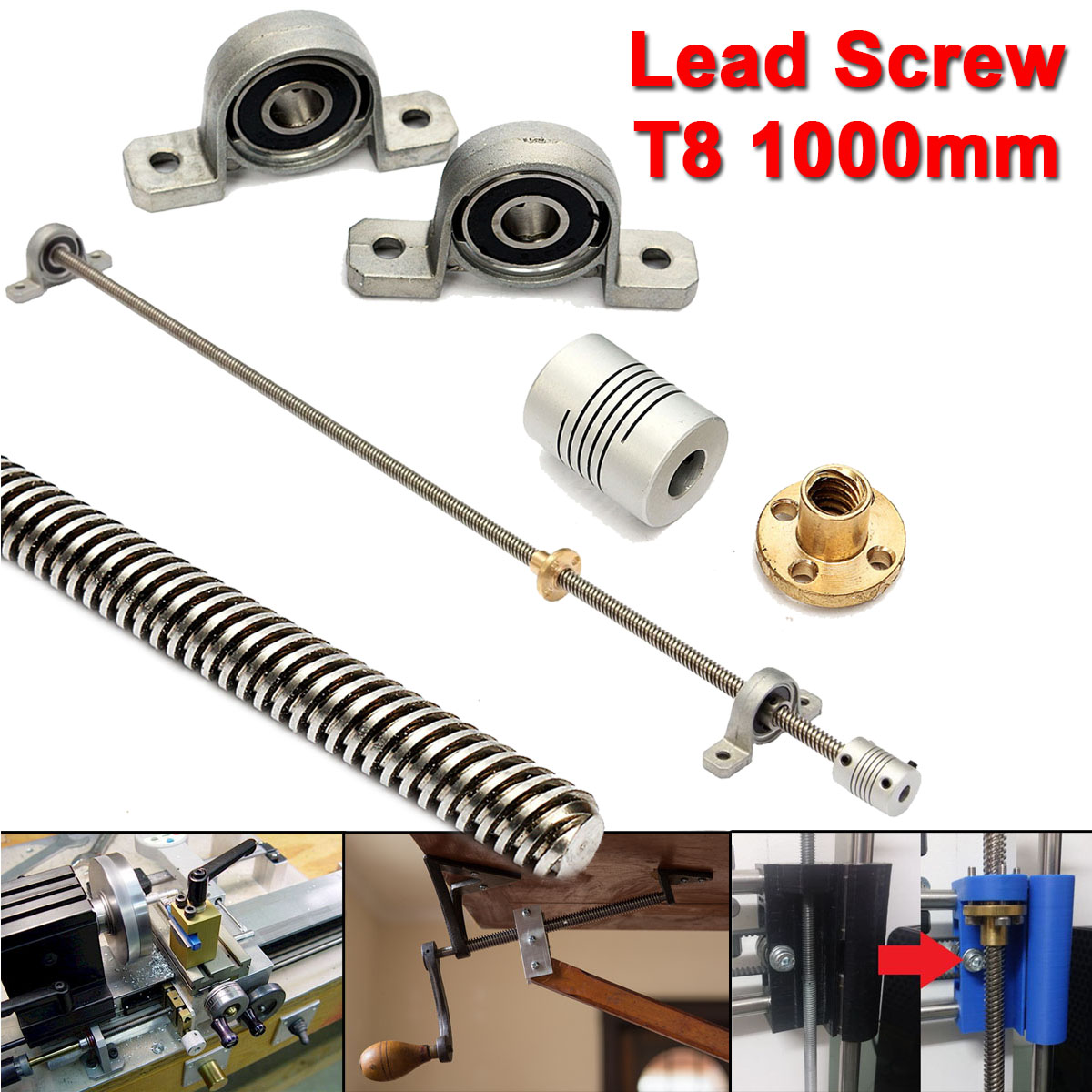 T8 8mm Lead screw 1000mm  + Brass Copper Nut + Bearing Bracket +Flexible Coupling For 3D Printer CNCT8 8mm Lead screw 1000mm  + Brass Copper Nut + Bearing Bracket +Flexible Coupling For 3D Printer CNC