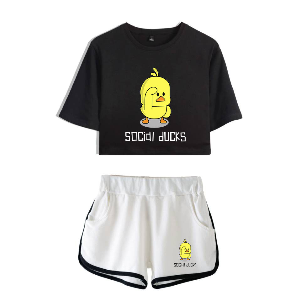 LUCKYFRIDAYF 2019 Fashion Summer Yellow Duck Pop Print Shorts And Tee Women Two Piece Sets Crop Top Casual Clothes